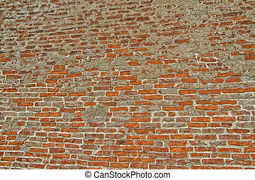 old wall of red brick and gray