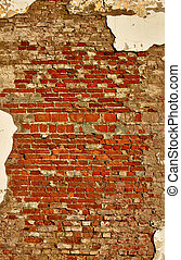 Old wall of red brick.