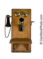 Old Wall telephone - Old telephone over isolated background