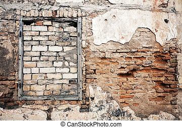 Old wall with boarded up window - Old gungy wall with ...