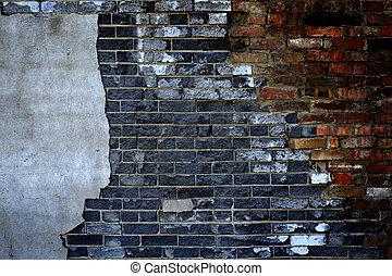 Old Wall with Bricks and Stucco Plaster Falling Apart Texture
