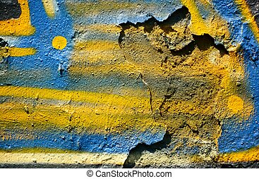 Old wall with colorful graffiti