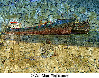 old wall with cracks and ships