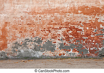 old wall with peeling paint and scratched stained plaster - ...