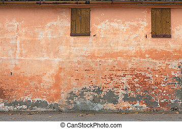 old wall with peeling paint