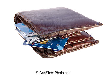 Old wallet with credit cards inside, isolated on white...