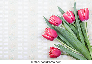 old wallpaper background with beautiful tulips