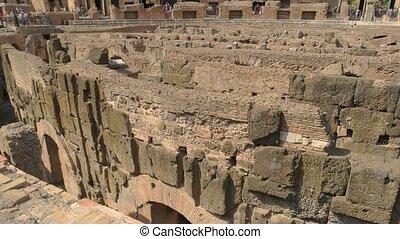 Old walls and sunlight. Roman Coliseum, hypogeum.