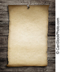 old wanted paper or parchment pinned by nail to grunge...