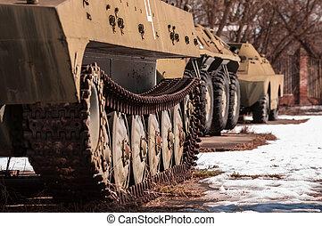 Old war machine outdoors