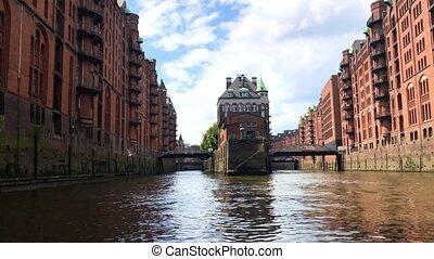 Old warehouse district (Speicherstadt) in Hamburg - The old...
