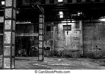 old warehouse in disrepair, abandoned building interior