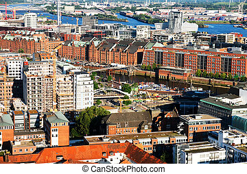 old warehouses in Hamburg - Hamburg from the bird\'s flight,...