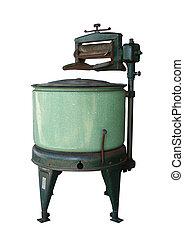 Old vintage washing machine isolated on white background