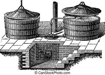 Old Washing machine with steam pressure vintage engraving