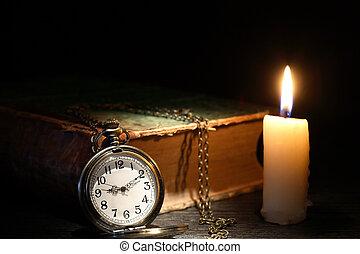 Old Watch Near Book