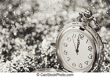 Old watch pointing midnight - New Year concept - New Year's...