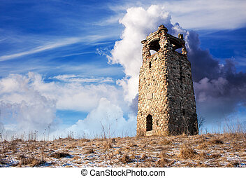 old watchtower on sunny winter day closeup