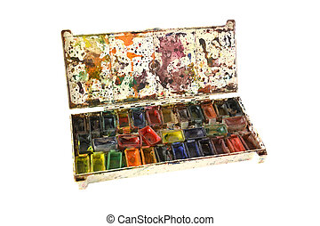old water color paints of the artist on a white background