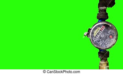 Old Water Meter with green screen,