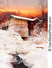 Old water mill Christmas eve