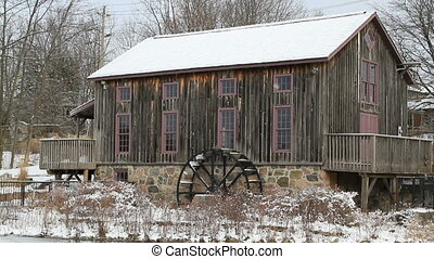 Old water mill in Waterloo, Ontario - Motion Picture of old...