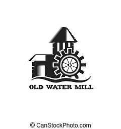 old water mill vintage illustration