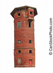 Old water tower made of red brick isolate on a white background.