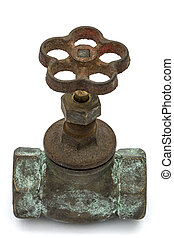 Old water valve, isolated on white background