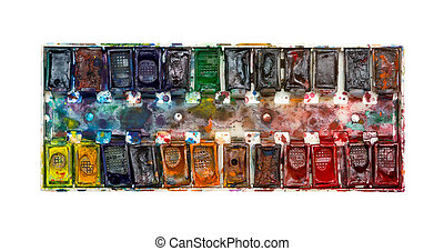 old watercolor paints of the artist on a white background