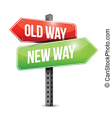 old way new way sign illustration