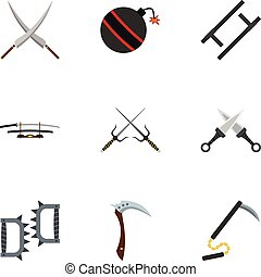 Old weapons icons set, flat style - Old weapons icons set....