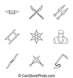 Old weapons icons set, outline style - Old weapons icons...