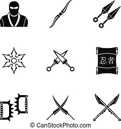 Old weapons icons set, simple style - Old weapons icons set....