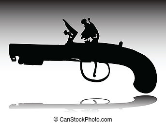 old weapons vector silhouettes