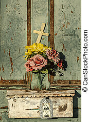 Old weathered and worn doorway