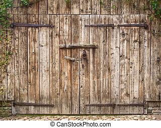 Old weathered barn door