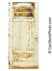 Old weathered door with cracked white paint isolated on white
