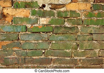 Old Weathered Painted Green Brick Wall Texture
