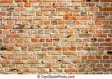 Old weathered red brick wall as background