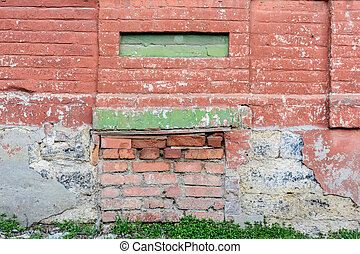 Old weathered red brick wall - Close up obsolete partly ...