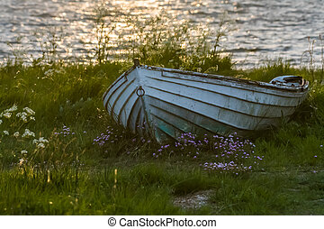 Old weathered rowing boat in green grass