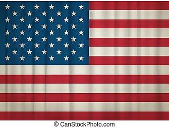 Old weathered USA flag. vector illustration