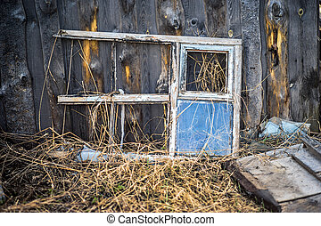 Old weathered window frame