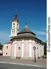 Old well and city hall on the main square of Kamynec-podolsky, Ukraine