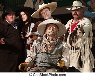 Old West Bandit with Gang - Injured senior cowboy and ...