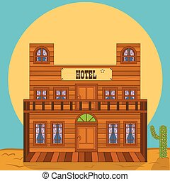 Vector illustration of an old western building - hotel