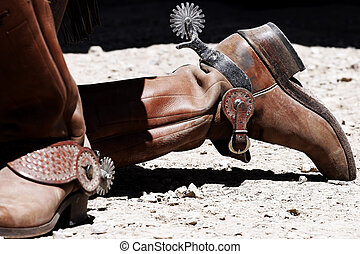 Old West Cowboy Boots and Spurs - Close up of a pair of...