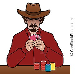 An old west card player is studying his hand