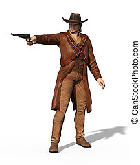 Old West Gunslinger Outlaw - An old west outlaw takes aim -...